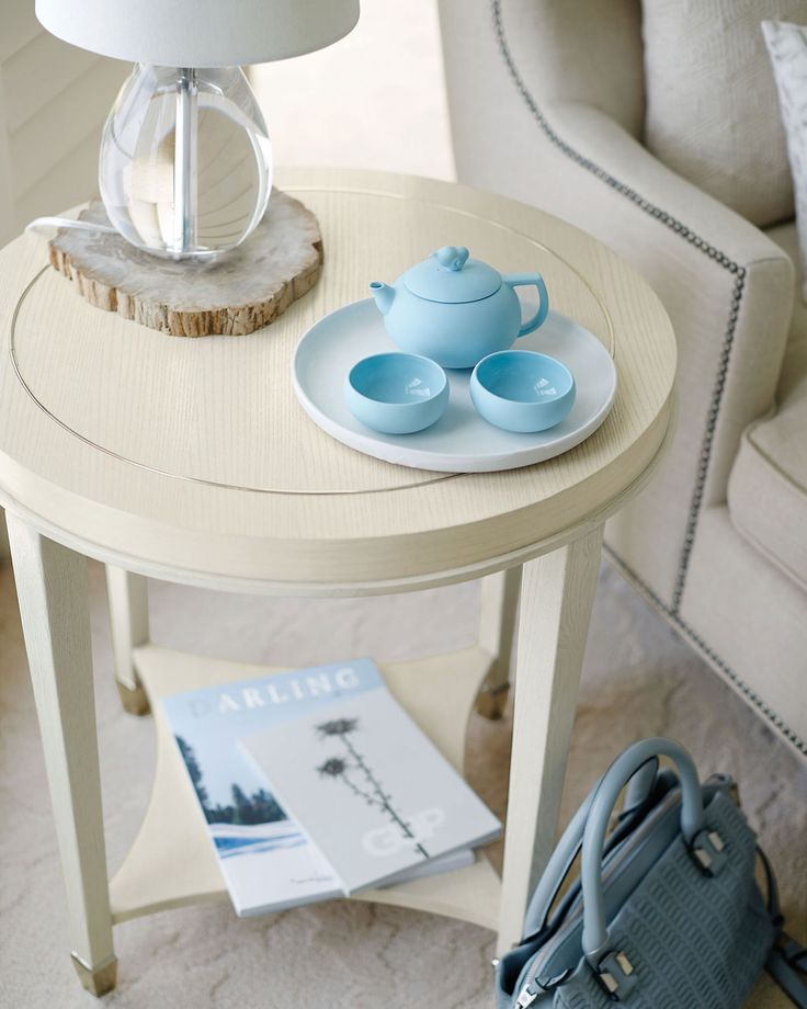 Louie End Table, Pale Ivory
