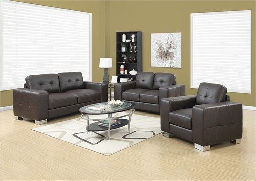 Chair - Dark Brown Bonded Leather / Match - Monarch Specialty I-8221BR