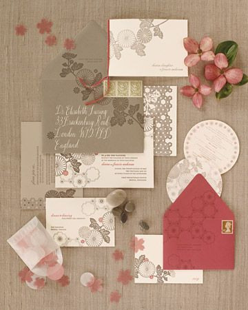 Sharon, a graphic designer, chose shades of pink, gray, and white and a modern motif of patterns inspired by Japanese textiles for the wedding stationery she designed.