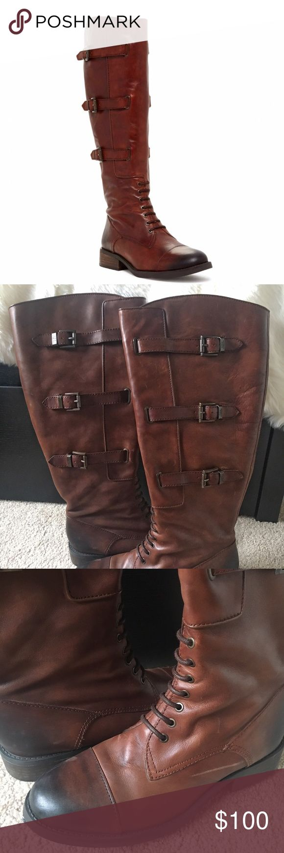 Vince Camuto Fenton Leather Boots I'm having a REALLY hard time parting with these, but they're a little big on me. They're wider in the calf, and I have thin legs. Worn a few times, leather has some distressing. I don't have the box anymore (sorry). I bought at full price on the Vince Camuto site. Due to me loving these, I won't let them go for some cheap, lowball offer, but I don't mind you trying through the private offer feature. NO TRADES OR PAYPAL. Vince Camuto Shoes Combat & Moto…