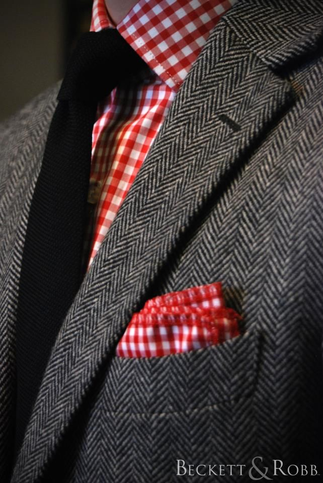 Bright gingham prints are such a great look with suits.   The matching pocket square pulls it all together.