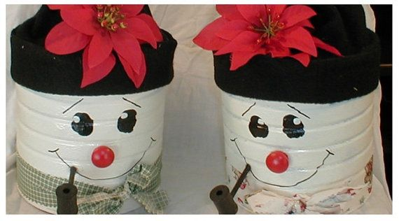 Snowman body is made from a coffee can. The hat comes off to enclose a bag of cookies to give to someone or to keep for yourself.
