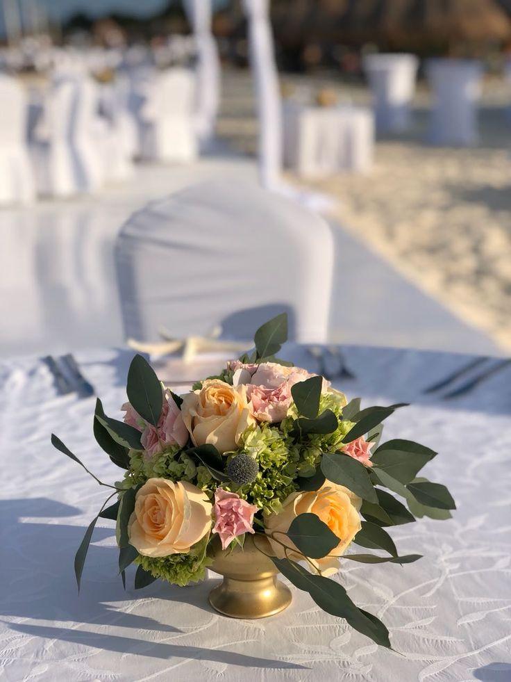 CBC448 wedding Riviera Maya peach and pink flowers for gold centerpieces/. Flores durazno y rosa para centro de mesa dorado