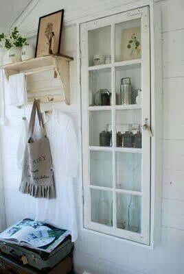 Old window into a cabinet