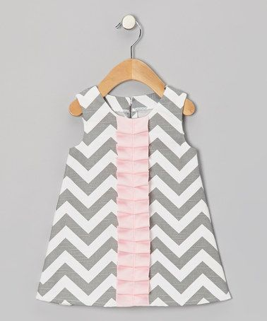 Loving this Gray & Pink Chevron Frill Dress - Infant & Toddler on #zulily! #zulilyfinds