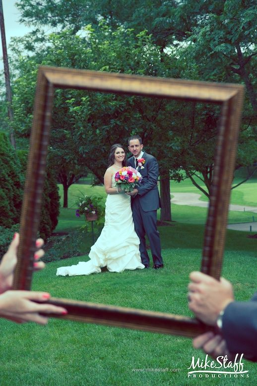 PHOTOS TOGETHER: bride, groom, maid of honor, best man *** maid of honor and best man holding frame. *** some with just their hands in the picture, some with them in the picture
