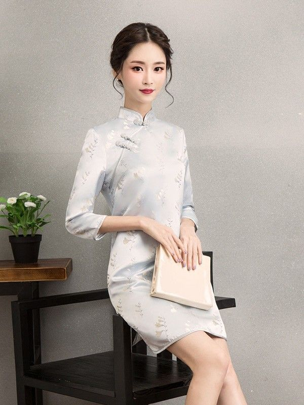 Blue Embroidered Qipao / Cheongsam Dress for Winter