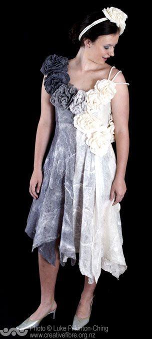 MERIT: NEW ZEALAND FELTERS AWARD (ANIMAL FIBRES) --- Ring-a-ring-a-Rosey (Raewyn Penrose, Te Aroha) --- Hand felted Merino wool dress and head band featuring a skirt of cobweb felt.