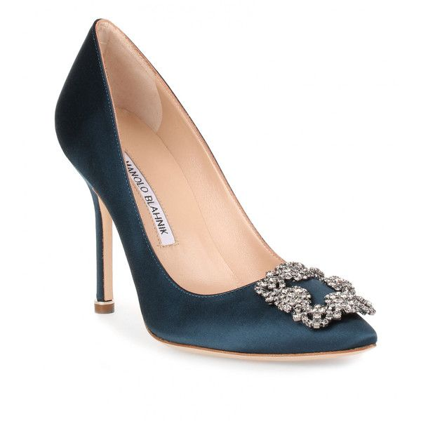 Manolo Blahnik Hangisi 105 Teal Satin Pump (€815) ❤ liked on Polyvore featuring shoes, pumps, blue, blue satin pumps, teal blue pumps, high heel shoes, evening shoes and blue pumps