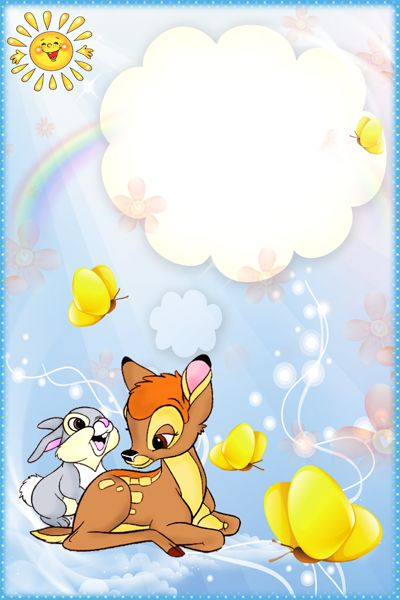 Kids Transparent PNG Frame with Rabbit and Deer