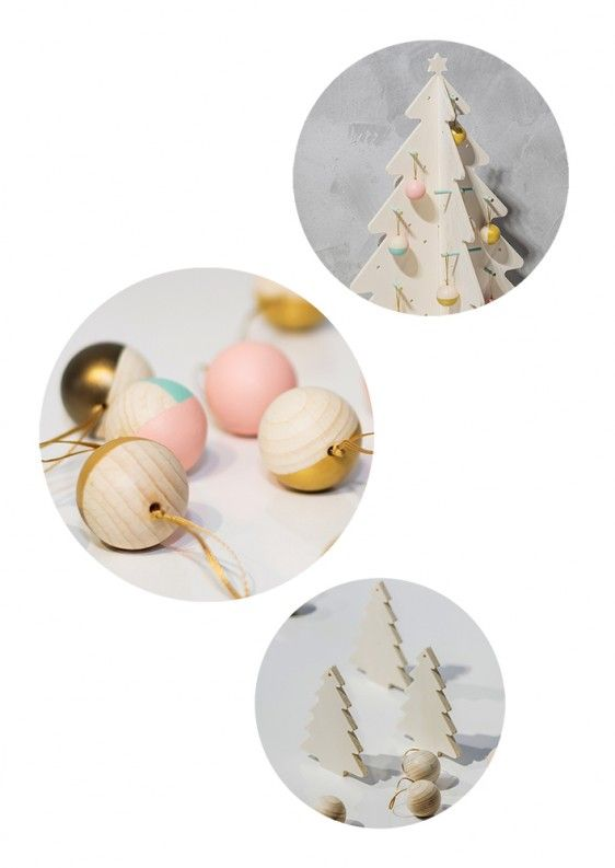 Eco tree and small pastel globes. This kind Christmas can only be magical.