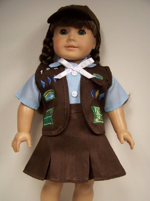 Brownie Girl Scout: 4Pc Brownies, Brownies Girls Scouts, Vest Dolls, Brownies Scouts, Girls Dolls, Dolls Clothing, Cap Vest, Blouses Cap, American Girls