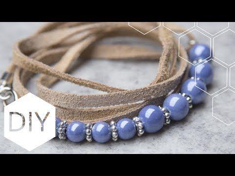 DIY sieraden maken met Kralenhoekje - Suède armband met keramiek kralen - YouTube