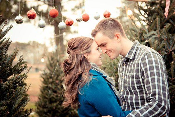 Christmas tree farm engagement photo