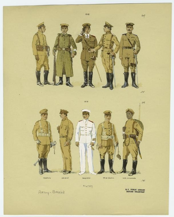 1918 and 1919 pattern Brazilian Army service uniforms and field uniforms.