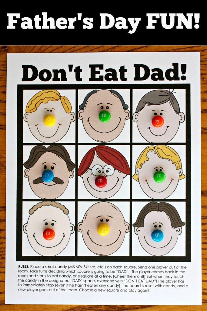 Don't Eat Dad Game ~ Perfect for Family Night! A fun way to enjoy time together as a family and to celebrate the Dad's in your families lives.