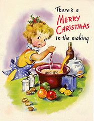 Whipping up a merry Christmas for one and all. vintage Christmas card