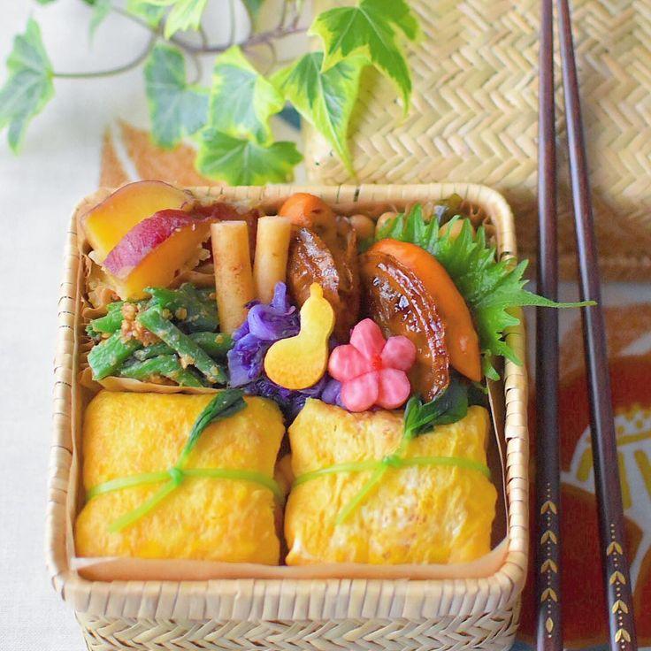 ふくさずし 🍴ほたての照り焼き 🍴大豆の昆布煮 🍴紫白菜のおひたし 🍴ごぼうの浅漬け 🍴さやいんげんのごま和え 🍴さつまいもの甘煮