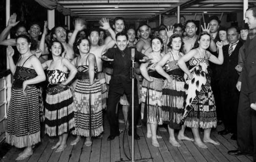Fun times with Ngati Poneke Young Maori Club. In this photo they are farewelling the Marcus Show (american theatrical entertainers) on the Wanganella, July 1937....    http://www.hakashows.com/