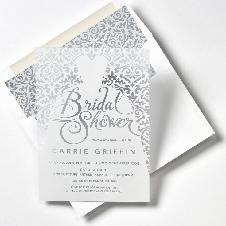 Make your bridal shower extra special with these luxury invitations! The frost paper and white silk-screen ink give these invitations a very stylish appearance and modern feel. The Minerva pattern for the envelope lining carries over into the invitation and presents a polished look for the invitation. Customize yours with Paper Passionista.
