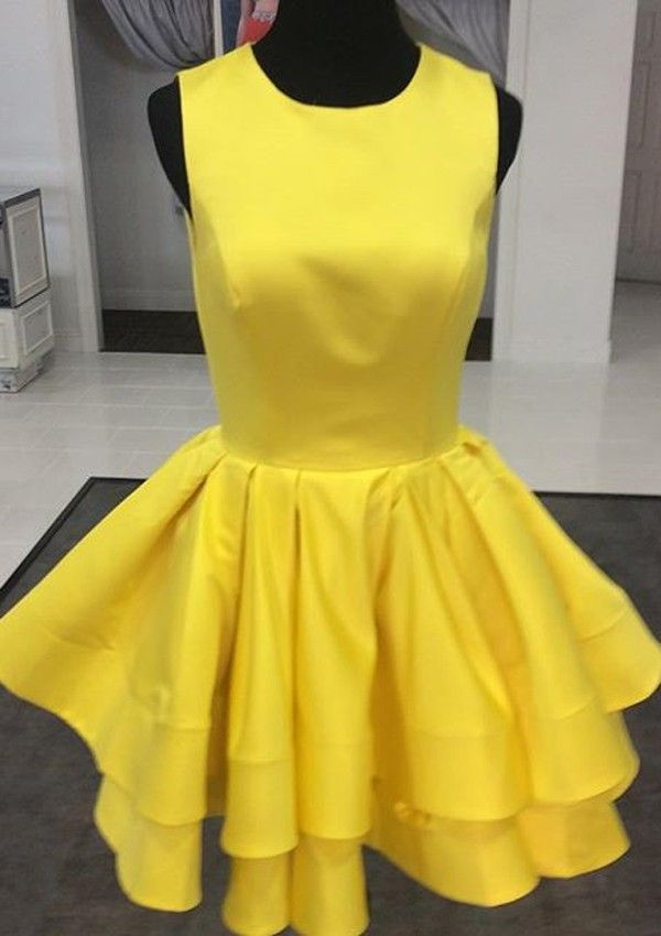 Buy Cute Princess Scoop Short Yellow Homecoming Dress/Evening Dress 2016 Homecoming Dresses under US$ 108.99 only in SimpleDress.