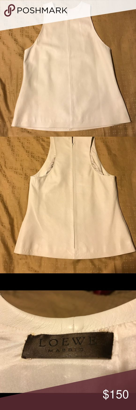 Loewe leather top. Off white. Size 40 Soft leather. Chic and cute. Perfect match with my red Prada leather skirt. New condition, only wear few tines. Love it so much but now gaining weight. European size 40. Loewe Tops Tees - Short Sleeve