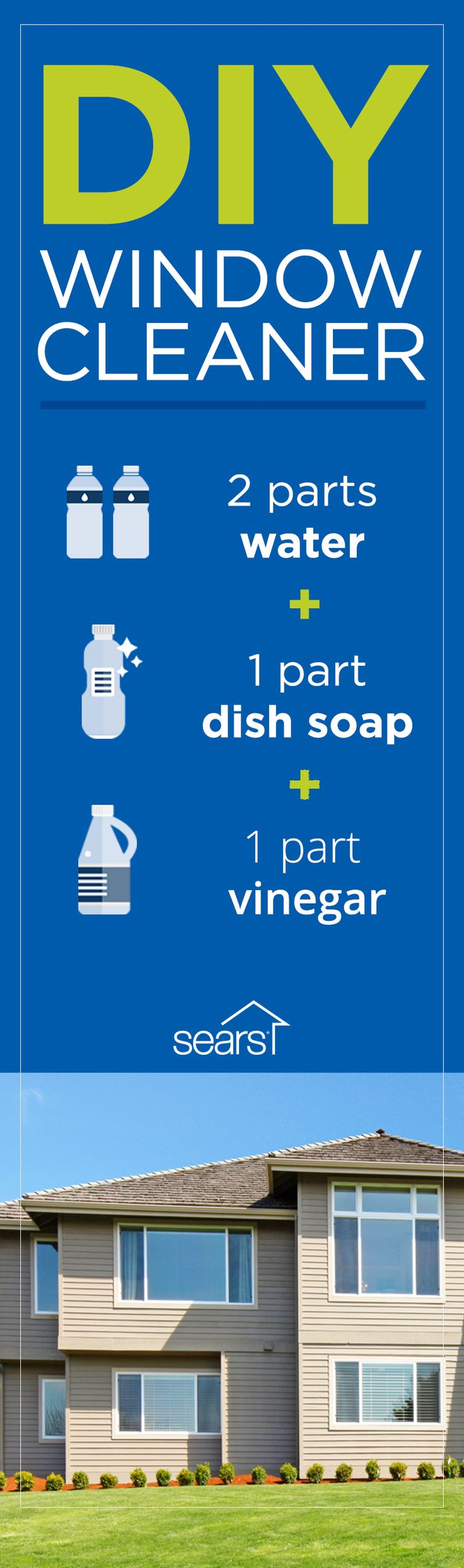 Don't let a smudge, fingerprint or dirt spot on your home's windows disrupt a beautiful view. Make your own window cleaning solution with two parts water, one part soap and one part vinegar. Learn more window cleaning hacks by visiting the Sears Home Services blog.