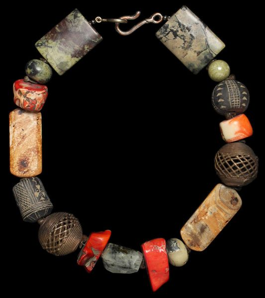 Necklace created from old beads by Marion Hamilton.