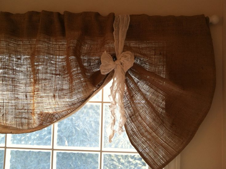 Burlap Valance Hemington style by frichie32 on Etsy