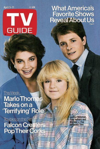 TV Guide April 5, 1986 - Justine Bateman, Michael J. Fox and Tina Yothers of Family Ties.