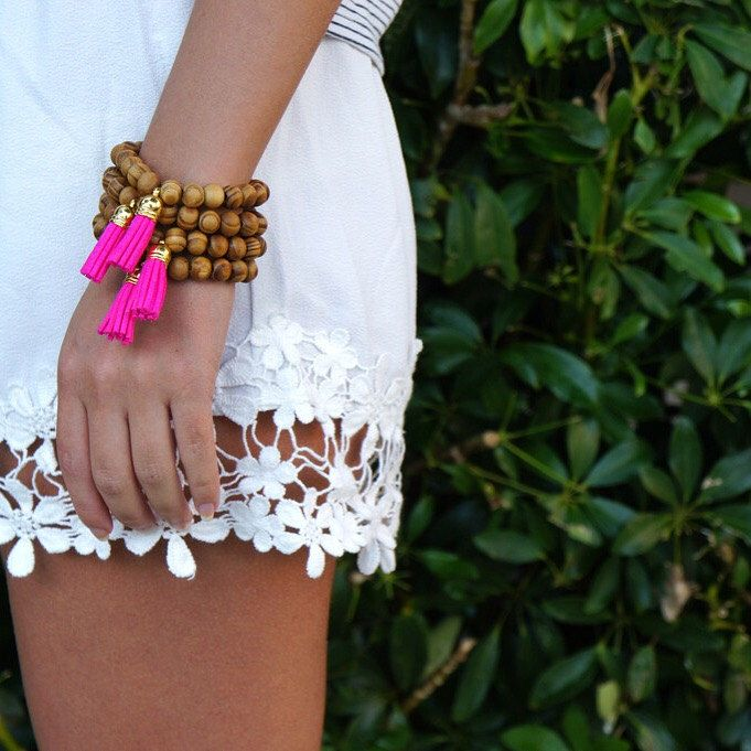 Pink Tassel Bracelet - Wood Bracelet - Beaded Bracelet - Festival Bracelet - Summer Bracelet - 1 PIECE by AllGirlsneed on Etsy https://www.etsy.com/listing/199676462/pink-tassel-bracelet-wood-bracelet