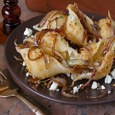 Conchiglioni (Pasta Shells) with Balsamic Glazed Sweet Onions & Gorgonzola