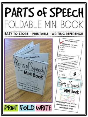 Parts of Speech Mini Book (foldable, printable, fun-filled resource!) from The Classroom Sparrow on TeachersNotebook.com - (7 pages) - This mini-book is a great addition to any English Language Arts classroom, and suitable for a variety of levels. Students no longer have an excuse for misplacing their notes.