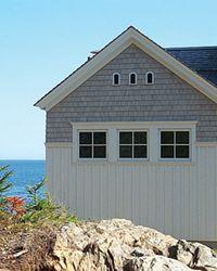 New Residence  Ocean Point...batten board on bottom, cedar shakes - hardy shakes on top.