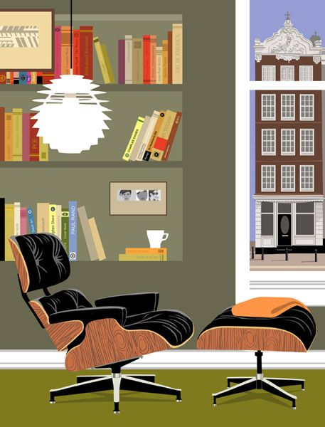 Paolo Mariotti - illustrator :: {Love the Herman Miller Eames Lounge Chair & Ottoman!} <3