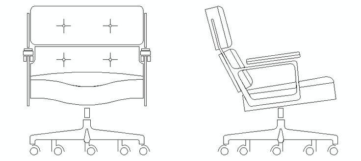 Silla de oficina lobby en alzado bloques autocad muebles for Muebles de oficina cad 2d