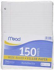 Mead Filler Paper Loose Leaf Paper Wide Ruled 150 Sheets/Pack (15103)