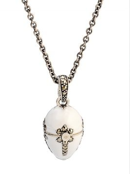 Jewelled Egg with Chain - PETIT POULET - White Enamel