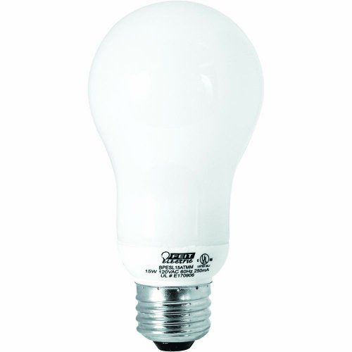 Feit Electric ESL15ATMM 15-Watt Compact Fluorescent Household Bulb, 60-Watt Incandescent Equivalent by Feit Electric. $6.15. From the Manufacturer                15-Watt - compact fluorescent household lamp - save energy and money by replacing your standard 60-Watt incandescent A19 with this energy saving compact fluorescent - Lasts up 7 years - Instant on no flicker - 6000 Hours life - 800-Lumen.                                    Product Description                BPESL15A...