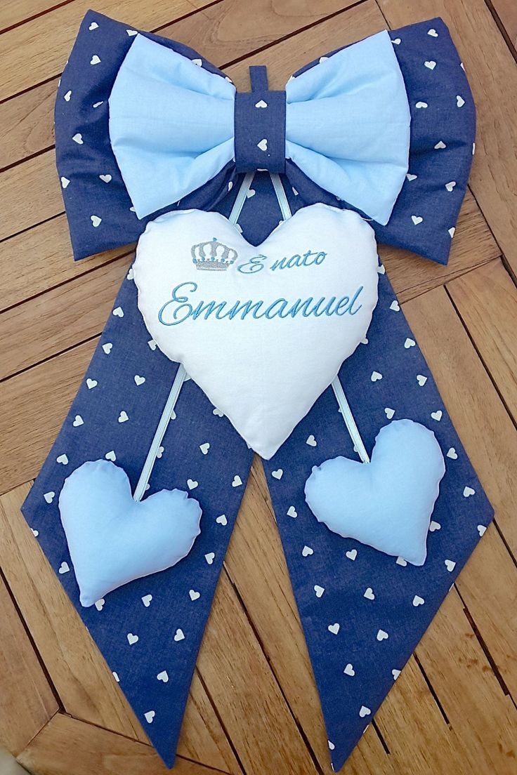 """Fiocco nascita blu e azzurro """"E' nato Emmanuel""""."""