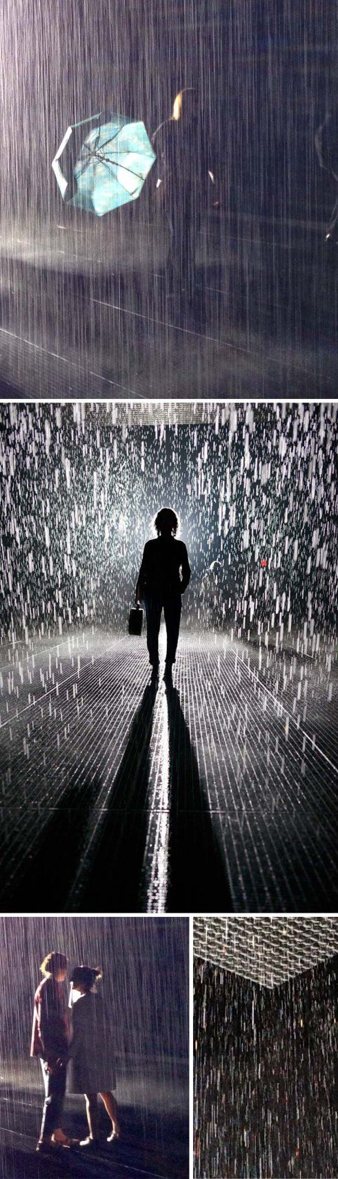 Rain Room at MoMA, X1, immersive interactive installation with falling water that doesnt get you wet. cool art. Fun in NYC