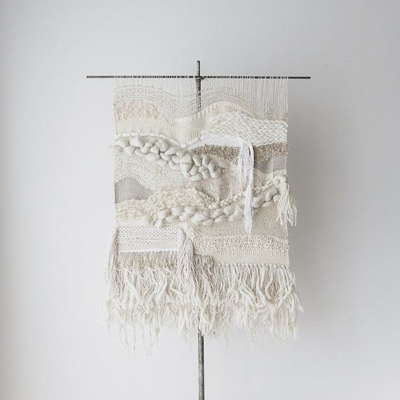 mens clothing stores nyc no  102814    the mourning hours large statement sized handwoven textural wall hanging in shades of white and cream with layers of fringe and
