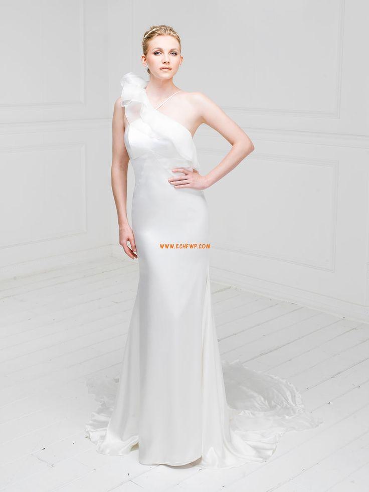 Playa / Destino Vestidos Blanco Solo Hombro Vestidos de novias 2014