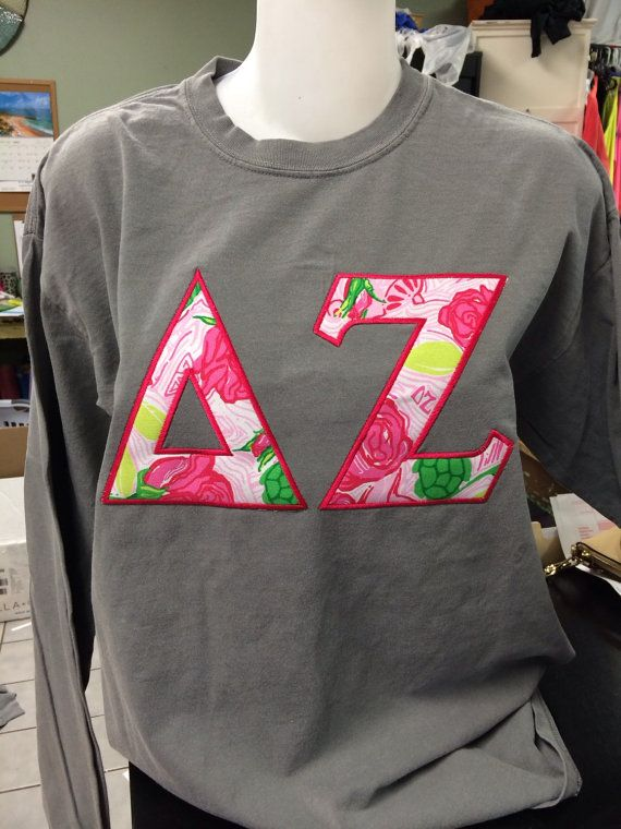 Delta Zeta Lilly Pulitzer Letter Shirt on Comfort by TheShirtPlace