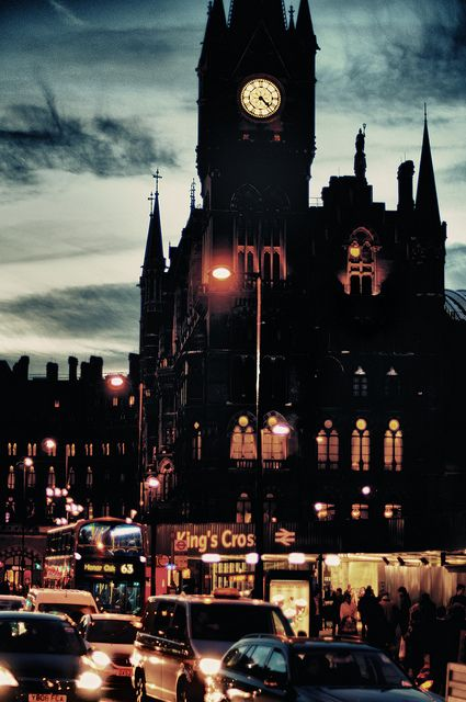 Kings Cross station at night. Just wish I knew the name of the striking church in the background! :)