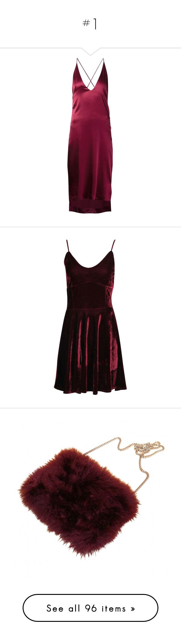 """""""#1"""" by music23260721-1 ❤ liked on Polyvore featuring dresses, red, purple cami, purple dress, red asymmetrical dress, red camisole, silk dress, velvet dress, fit and flare dress and strap dress"""