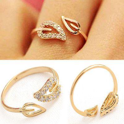 Elegant Crystal Rhinestone Leaf Finger Ring