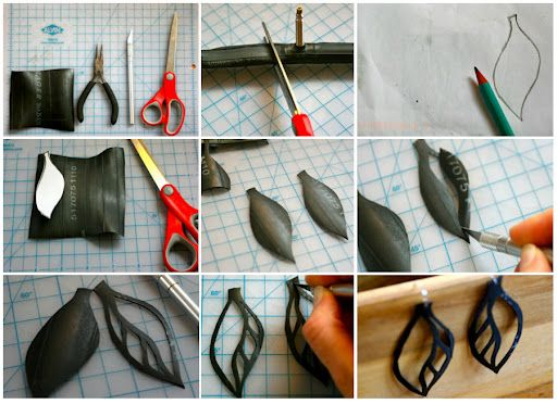 earrings made with bicile tires