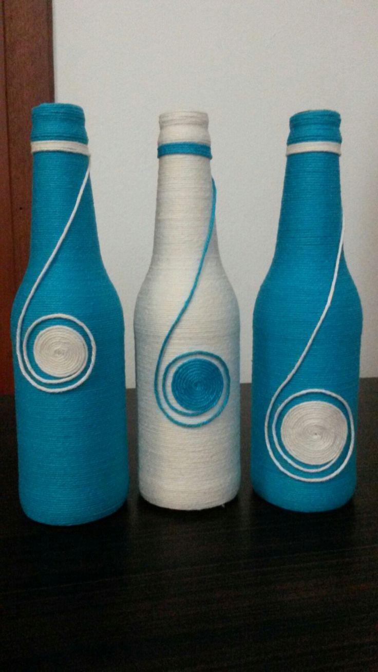 +1000 ideias sobre Garrafas Decoradas Com Barbante no Pinterest Barbante garrafas de vinho  -> Decorar Garrafas De Vidro Com Barbante