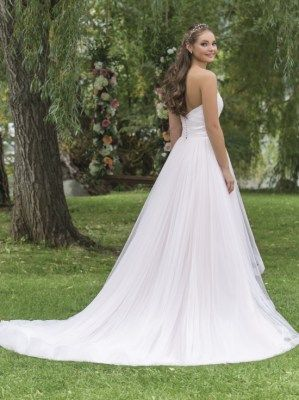 Beautiful A-line wedding gown with soft tulle overlay and a beautiful train, style 6158 by Sweetheart- Justin Alexander